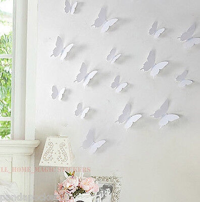 12 Colours 3D BUTTERFLY Wall Sticker Art Decal Home Decor 12pcs HIGH QUALITY PVC
