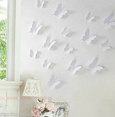 Home Decoration - 12 Colours 3D BUTTERFLY Wall Sticker Art Decal Home Decor 12pcs HIGH QUALITY PVC