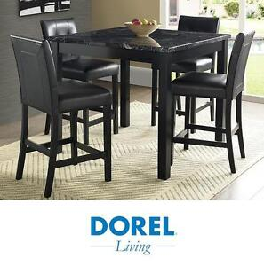 NEW DOREL LIVING 5PC DINING SET - 121921772 - ANDOVER FAUX MARBLE COUNTER HEIGHT
