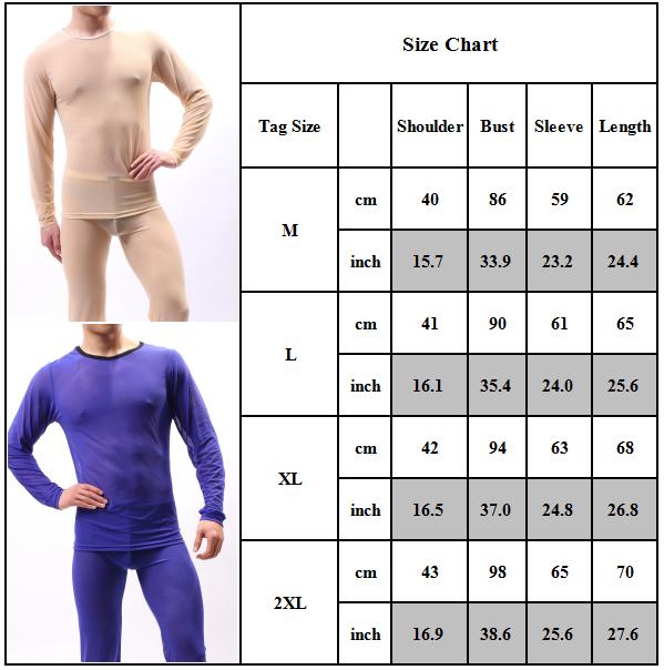 Men Sexy Long Sleeve T Shirt Undershirt Top Underwear Long Pants Set Nightwear Clothing, Shoes & Accessories