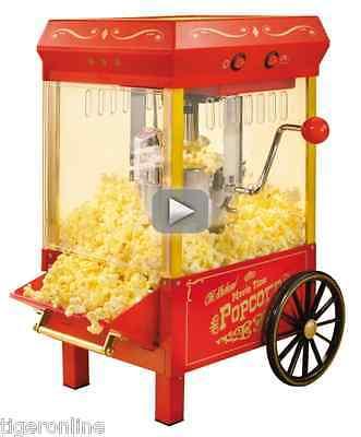 Vintage Popcorn Machine Maker Cart Commercial Grade Electric Countertop 12 Cups
