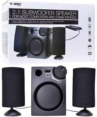 VIBE VS-521 3-Piece 2.1-Channel Multimedia Speaker System with Subwoofer (Black)
