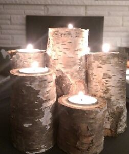 Real solid Birch pilar candle sets- Tall and short/ gorgeous! London Ontario image 2