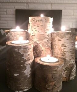 Real solid Birch pilar candle sets/ tall and short/ gorgeous! London Ontario image 2