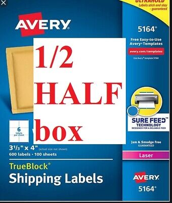 Avery Shipping Labels Laser 5164 Only 50 Sheets 12 Of A Box 300 Labels