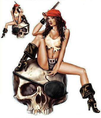 Sexy Girl Piraten (Aufkleber Set Sexy Piraten Pin Up Girl Sticker 15x12cm Totenkopf  Trike Bike Car)