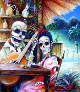 Day-of-the-Dead-039-La-Borracha-039-signed-Print-by-artist-Heather-Calderon