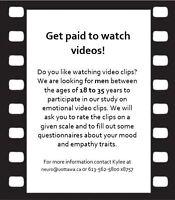 Get paid to watch videos! (Looking for study participants)