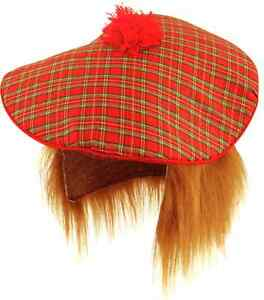 TAM-O-SHANTER HAT & HAIR TARTAN SCOTLAND SCOTTISH BURNS NIGHT FANCY DRESS GINGER
