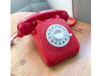 VINTAGE STYLE GPO TELEPHONE 746, ROTARY DIAL, RED, NEW UNUSED, MID CENTURY
