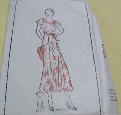 Vintage 1930's dress pattern complete never used not printed size 16