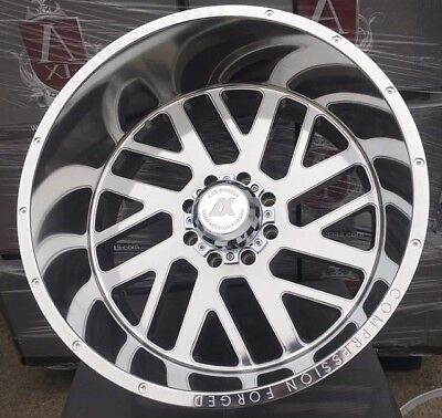 24x14 AXE 2.5 Compression Forged Polished Wheels 8x6.5 8x165.1 Dodge Chevy