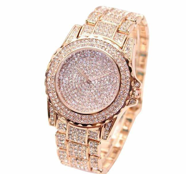 Luxury Crystal Diamante Faced Watch Quartz Dress Jewelry Rose Gold 016 Ebay