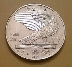 MONETA-DEL-REGNO-50-CENTESIMI-1941-CIRCOLATA-POCO-QFDC