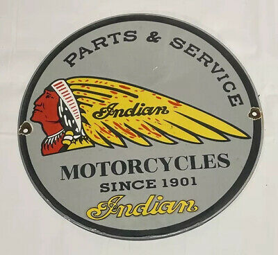 "VINTAGE INDIAN MOTORCYCLE 12"" PORCELAIN SIGN GAS OIL CAR AUTO"
