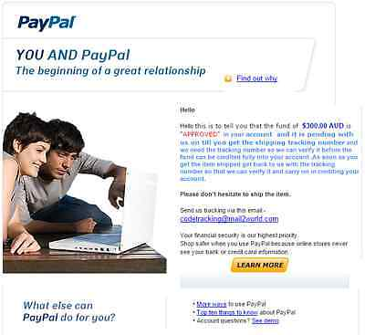 PayPal will never send you and email like this...