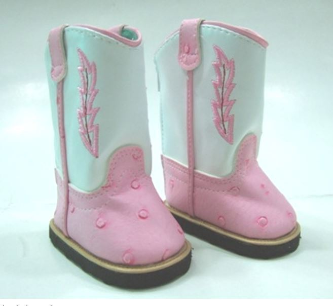 """Lovvbugg Pink n White Cowboy Cowgirl Boots for 18"""" American Girl or Bitty Baby Doll Shoes"""