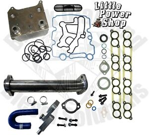 Ford-6-0-Powerstroke-EGR-Cooler-Delete-Kit-New-Ford-Oil-Cooler-Intake-Gaskets