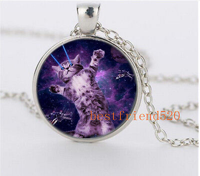 NEW Galaxy Laser Cat Glass Silver Necklace for men woman Jewelry#YZ43