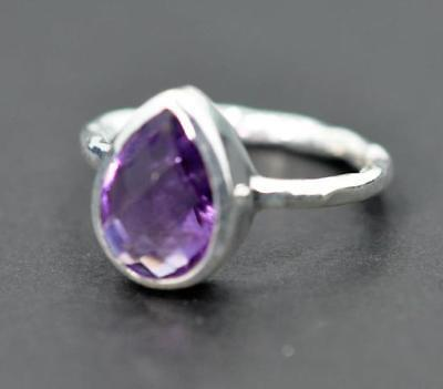 NATURAL AMETHYST FEBRUARY BIRTHSTONE SOLID 925 STERLING SILVER  RING #MG701