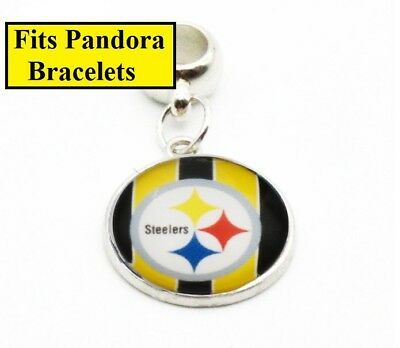 Pittsburgh Steelers Large Hole Silver Bracelet Charm Style For Pando