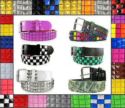 3 Row Metal Pyramid Studded Leather Belt Mens Womens Punk Goth Emo Checkered - Pyramid Stud Belt
