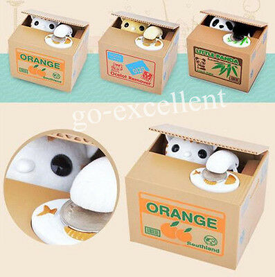 Cute Cat Panda Automated Stealing Coin Money Box Piggy Bank Storage Saving Box