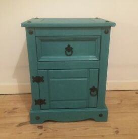 Teal Mexican Pine Cabinet