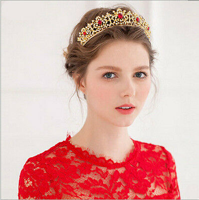 4cm High Red or Green Crystal Golden Wedding Bridal Party Pageant Prom Tiara