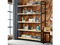 Large Industrial Bookcase / Shelf Reclaimed Rustic Wood Metal Open Back