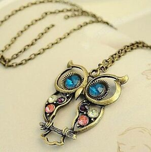 Women Fashion Vintage Rhinestone OWL Long Chain N