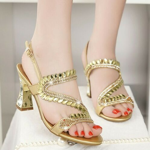 Details about  /Women/'s Rhinestones Buckle Strap Slingbacks Sandals Cut Out Block Heel Shoes G94
