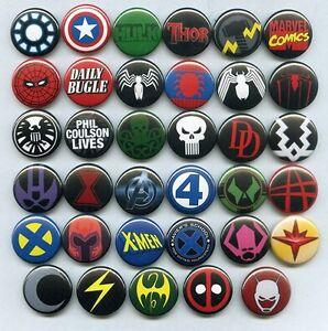 MARVEL COMICS LOGOS - PINS / BUTTONS (avengers spiderman xmen iron man deadpool)