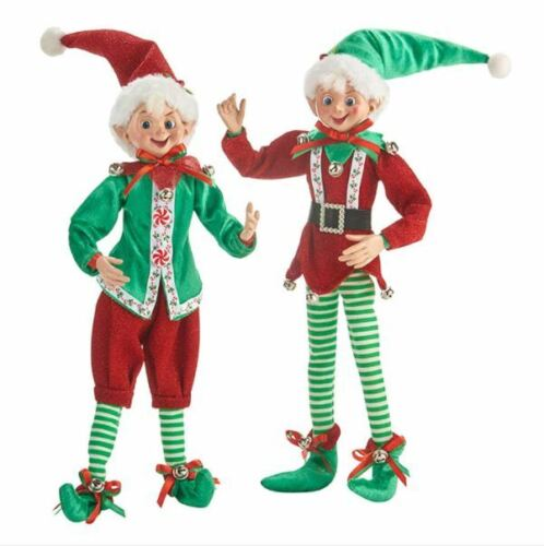 """Elf Christmas Decorations Posable Elves NEW RAZ Imports Red and Green 16"""" Set/2"""