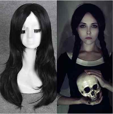 Wednesday Addams cosplay closure hair wigs wavy african american black wigs Q12