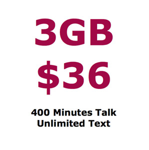 $36 / month - 3GB LTE, 400 Min Talk, Unlimited Text