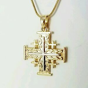 Jerusalem Cross Pendant Holy Land Israel Gold and Silver plated
