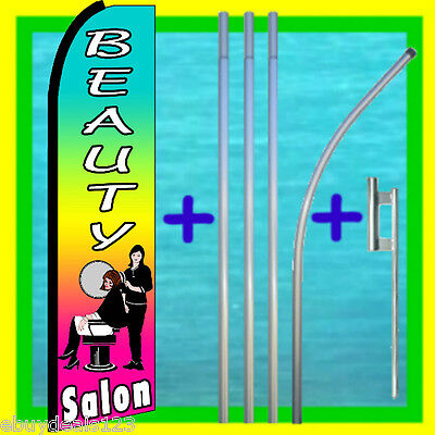 Beauty Salon Swooper Flag 15 Pole Mount Feather Swooper Flutter Bow Banner