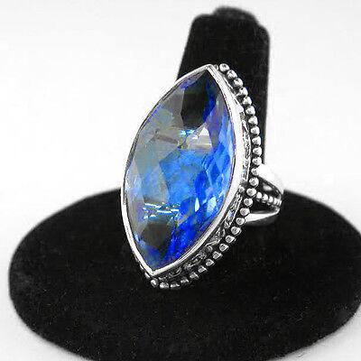 Offerings Sajen 925 Sterling Silver Celestial Blue Quartz Faceted Love Ring