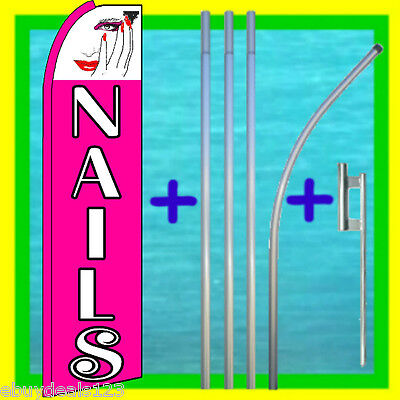 Nails Swooper Flag 15 Tall Pole Mount Mainicure Feather Flutter Bow Banner