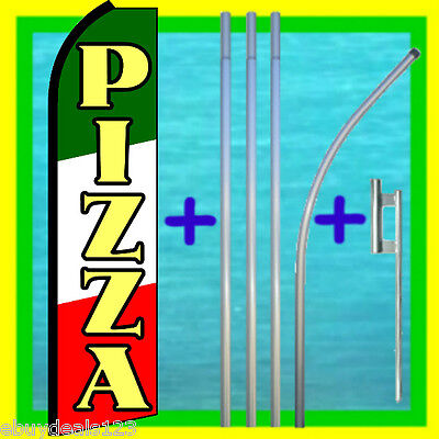 Pizza Swooper Flag 15 Tall Pole Mount Feather Flutter Bow Banner