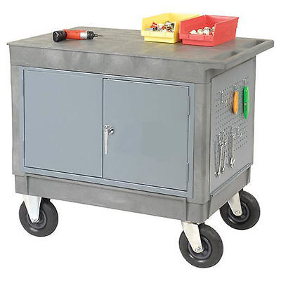 Work Station Mobile - Portable Cart - Locking Doors - Flat Worktop - 38h