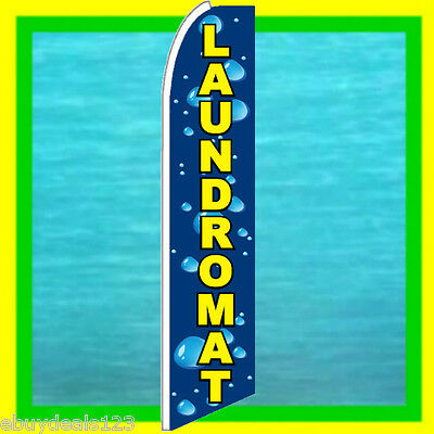 Laundromat Banner Ad Flag Advertising Sign Feather Swooper Bow Flutter