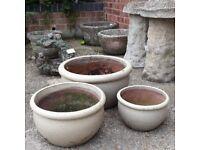Set Of 3 Ceramic Frost Resistant Beige Graduated Garden Pots Or Planters