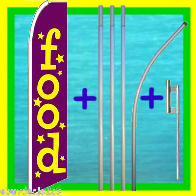 Food 15 Flag Kit W Pole Mount Advertising Sign Feather Swooper Bow Banner