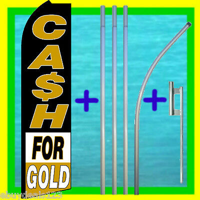 Cash For Gold Swooper Flag 15 Tall Pole Kit Feather Flutter Bow Banner