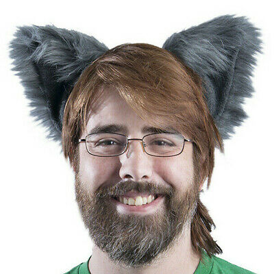 Dog Ears Halloween (PAWSTAR Dog Ears Headband - Furry Fox Wolf Halloween Costume Gray)
