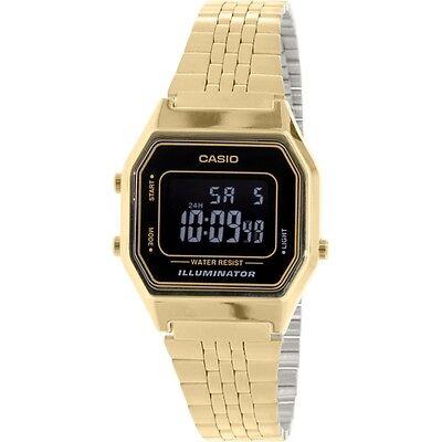 Casio LA680WGA-1B Ladies Mid-Size Gold Tone Digital Retro Vintage Watch NEW