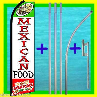 Mexican Food 3 Wide Swooper Flag 15 Tall Pole Mount Feather Flutter Banner