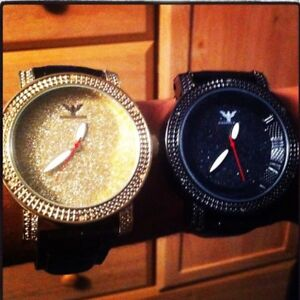 Diamond watches black $50 gold $65